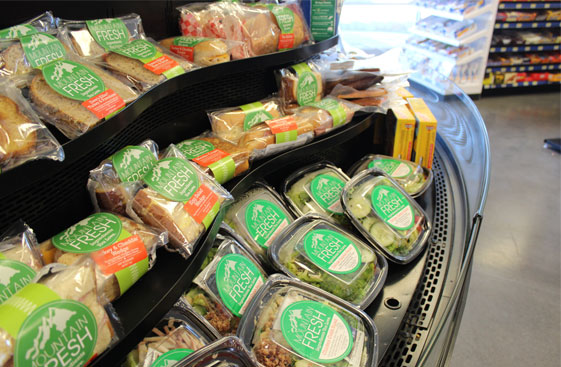 A variety of fresh sandwiches and salads available.